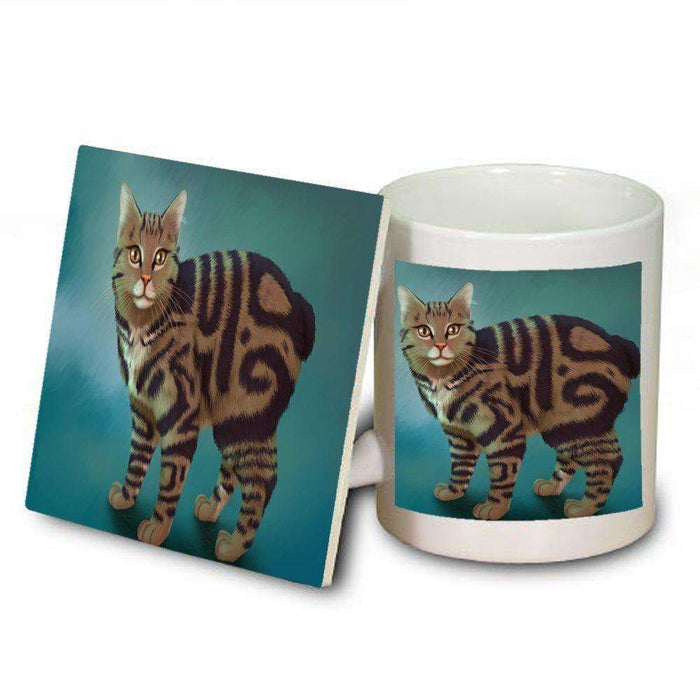 Manx Cat Mug and Coaster Set