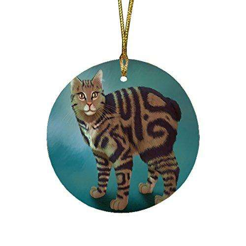 Manx Cat Round Christmas Ornament
