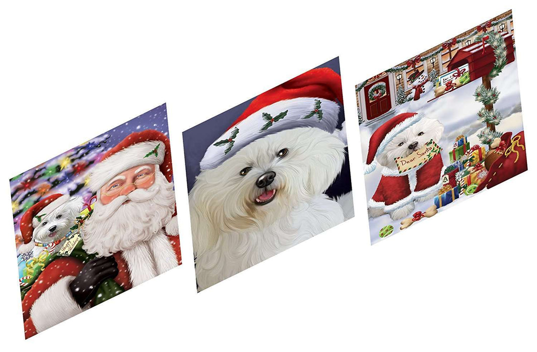 Merry Christmas Happy Holiday Magnets Bichon Dog Set of 3