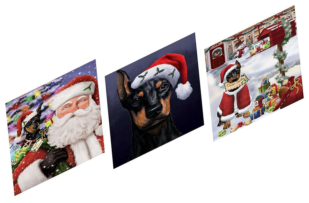 Merry Christmas Happy Holiday Magnets Doberman Dog Set of 3