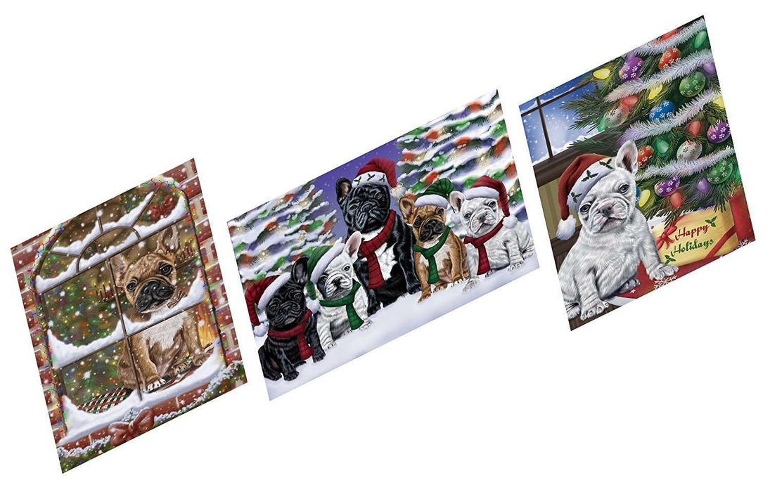 Merry Christmas Happy Holiday Magnets French Bulldogs Dog Set of 3