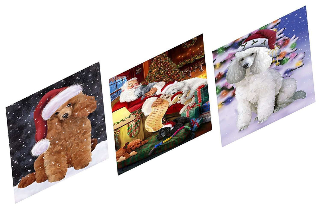 Merry Christmas Happy Holiday Magnets Poodle Dog Set of 3