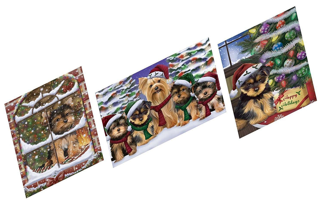 Merry Christmas Happy Holiday Magnets Yorkshire Terriers Dog Set of 3