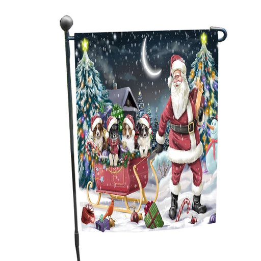 Merry Christmas Happy Holiday Santa Sled Australian Shepherd Dogs Garden Flag D001