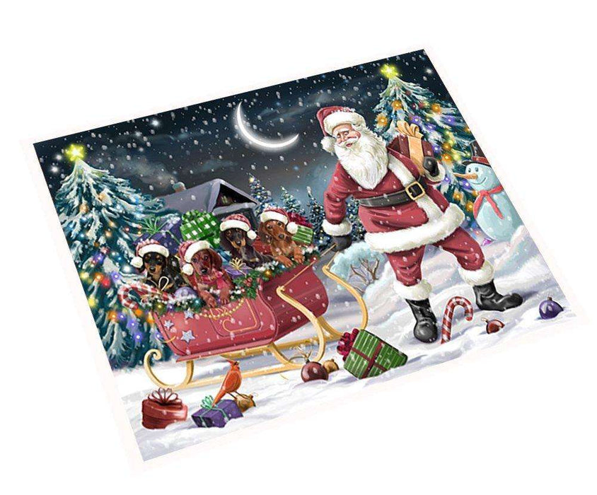 Merry Christmas Happy Holiday Santa Sled Dachshund Dogs Tempered Cutting Board D294