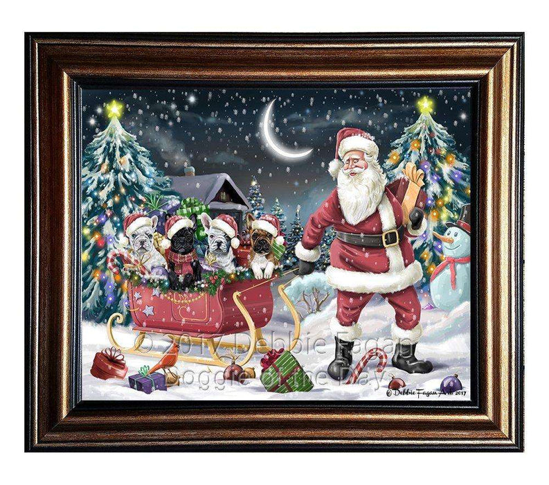 Merry Christmas Happy Holiday Santa Sled French Bulldogs Dog Framed Canvas Print Wall Art D017