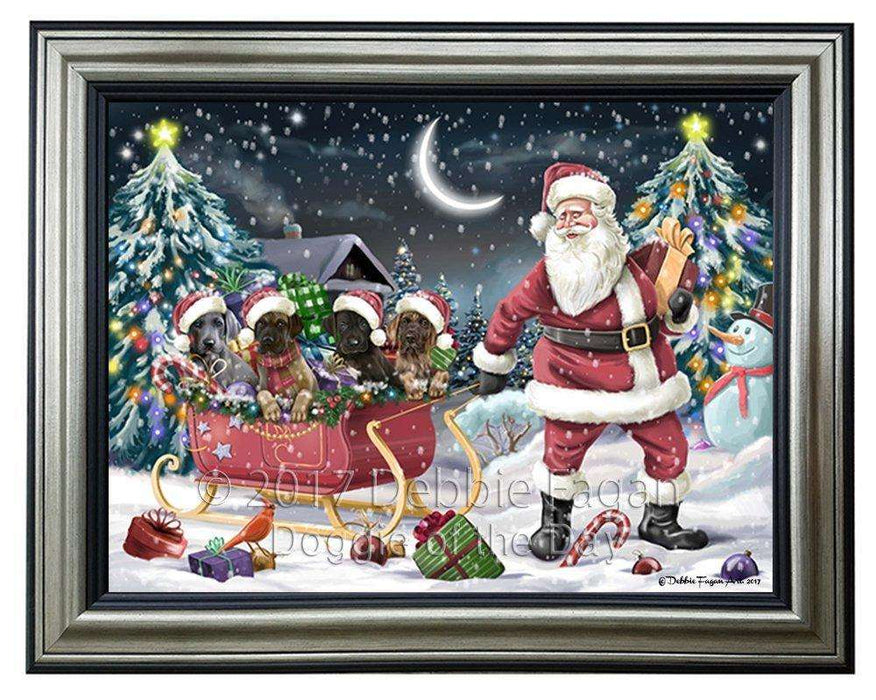 Merry Christmas Happy Holiday Santa Sled Great Dane Dogs Framed Canvas Print Wall Art D014