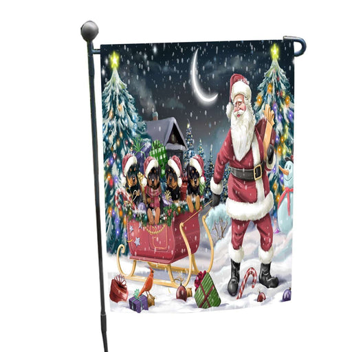 Merry Christmas Happy Holiday Santa Sled Rottweilers Dogs Garden Flag D272