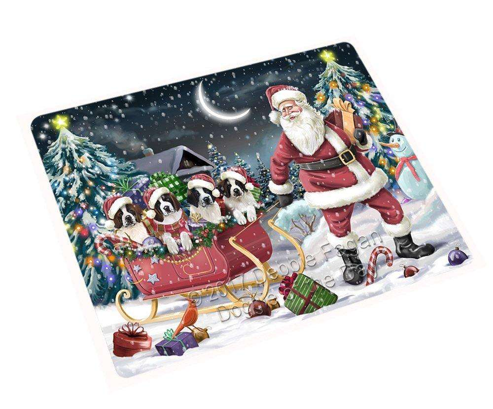 Merry Christmas Happy Holiday Santa Sled Saint Bernard Dogs Tempered Cutting Board D313