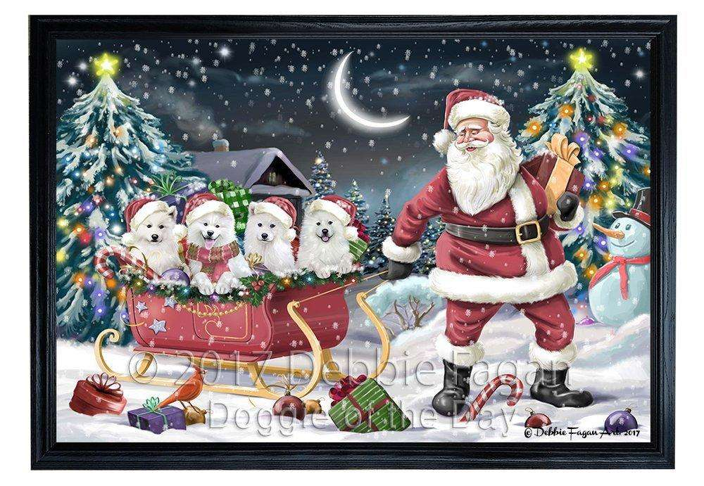 Merry Christmas Happy Holiday Santa Sled Samoyed Dogs Framed Canvas Print Wall Art D020