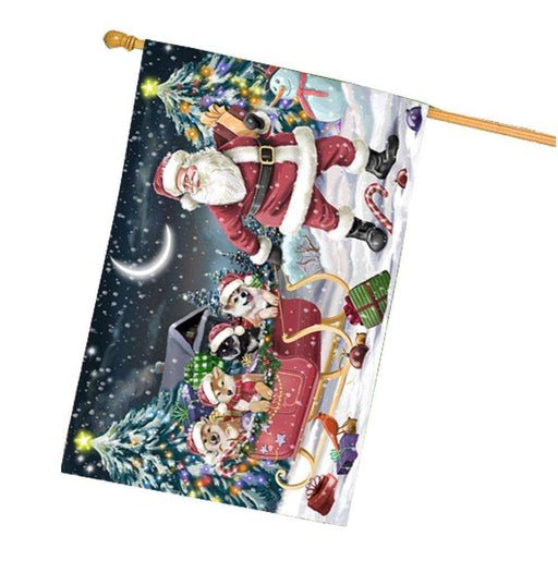 Merry Christmas Happy Holiday Santa Sled Shiba Inu Dogs House Flag