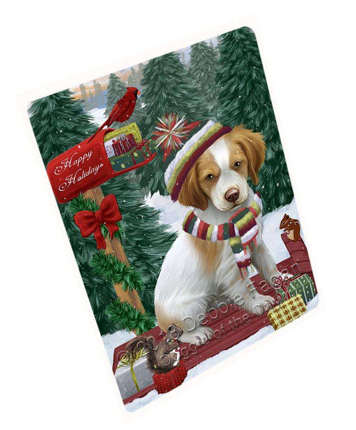"Merry Christmas Woodland Sled Brittany Spaniel Dog Magnet MAG69750 (Small 5.5"" x 4.25"")"