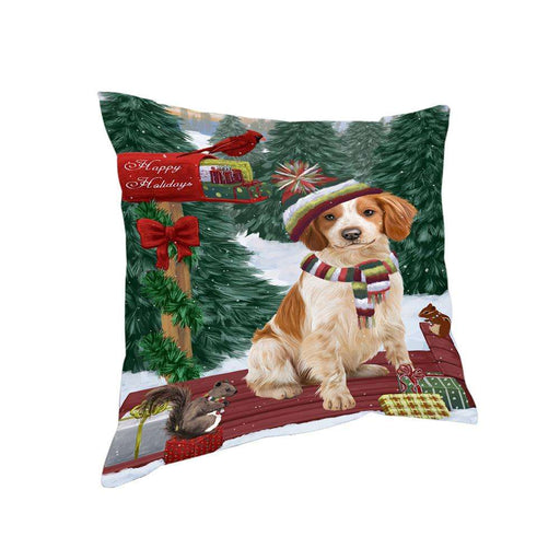 Merry Christmas Woodland Sled Brittany Spaniel Dog Pillow PIL76752