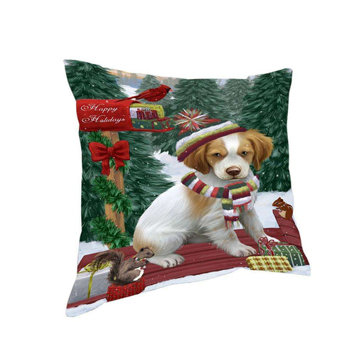 Merry Christmas Woodland Sled Brittany Spaniel Dog Pillow PIL76756