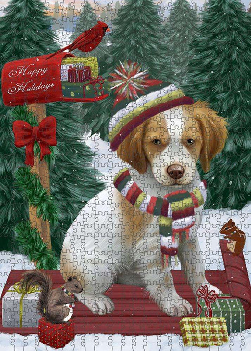 Merry Christmas Woodland Sled Brittany Spaniel Dog Puzzle with Photo Tin PUZL87564
