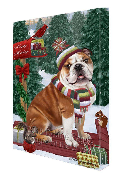Merry Christmas Woodland Sled Bulldog Canvas Print Wall Art Décor CVS113804