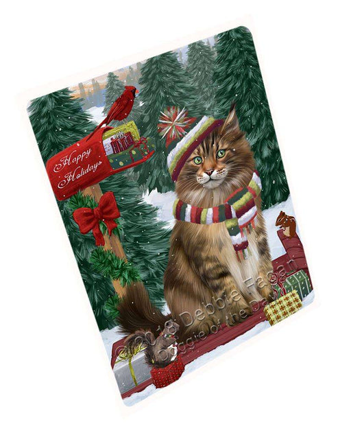 Merry Christmas Woodland Sled Maine Coon Cat Cutting Board C70041
