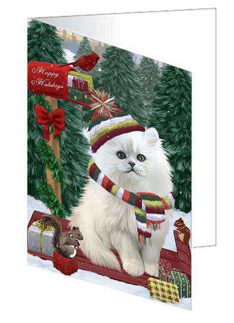 Merry Christmas Woodland Sled Persian Cat Greeting Card GCD69479