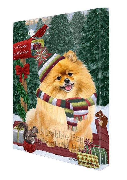 Merry Christmas Woodland Sled Pomeranian Dog Canvas Print Wall Art Décor CVS114875