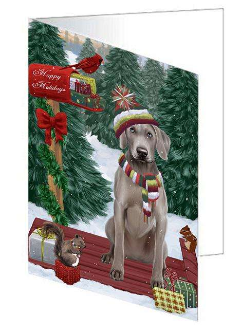 Merry Christmas Woodland Sled Weimaraner Dog Greeting Card GCD69710
