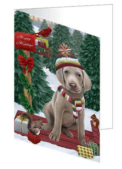 Merry Christmas Woodland Sled Weimaraner Dog Greeting Card GCD69713