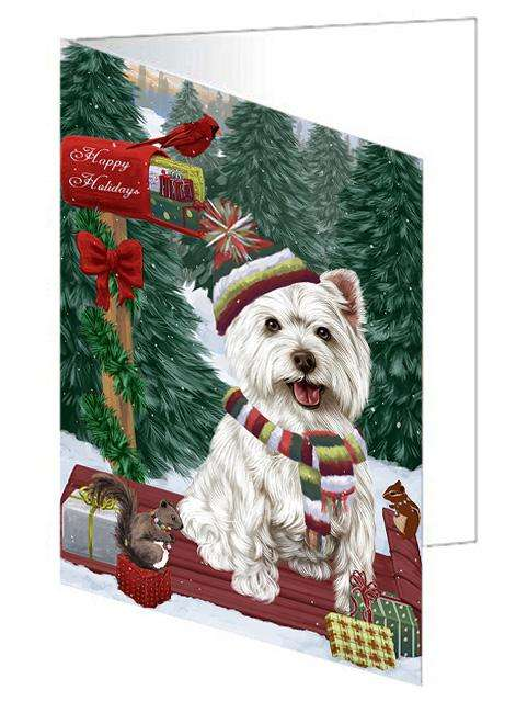 Merry Christmas Woodland Sled West Highland Terrier Dog Greeting Card GCD69716