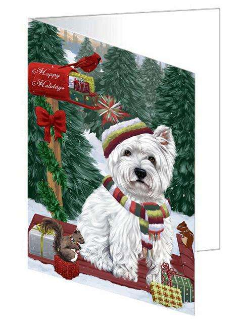 Merry Christmas Woodland Sled West Highland Terrier Dog Greeting Card GCD69719