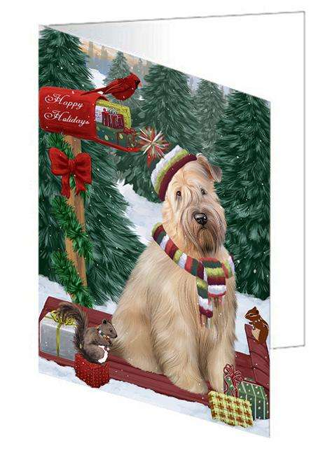 Merry Christmas Woodland Sled Wheaten Terrier Dog Greeting Card GCD69722