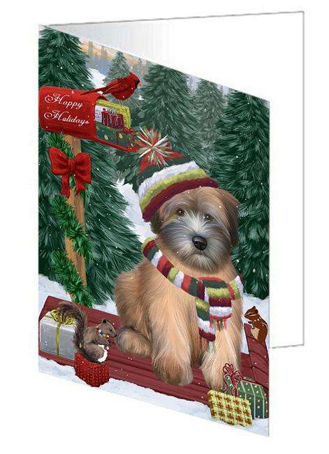 Merry Christmas Woodland Sled Wheaten Terrier Dog Greeting Card GCD69725