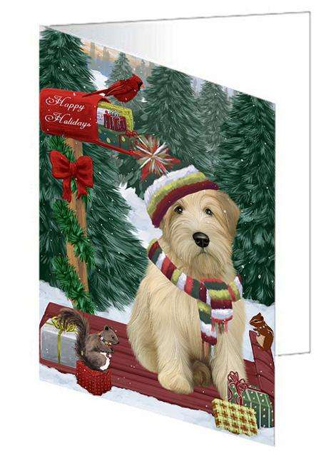 Merry Christmas Woodland Sled Wheaten Terrier Dog Greeting Card GCD69728