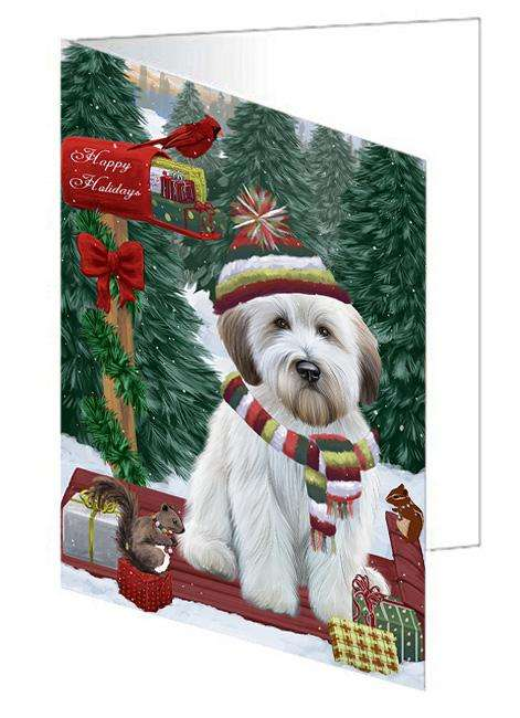 Merry Christmas Woodland Sled Wheaten Terrier Dog Greeting Card GCD69731