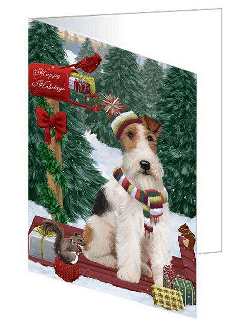 Merry Christmas Woodland Sled Wire Fox Terrier Dog Greeting Card GCD69734