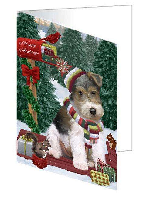 Merry Christmas Woodland Sled Wire Fox Terrier Dog Greeting Card GCD69737