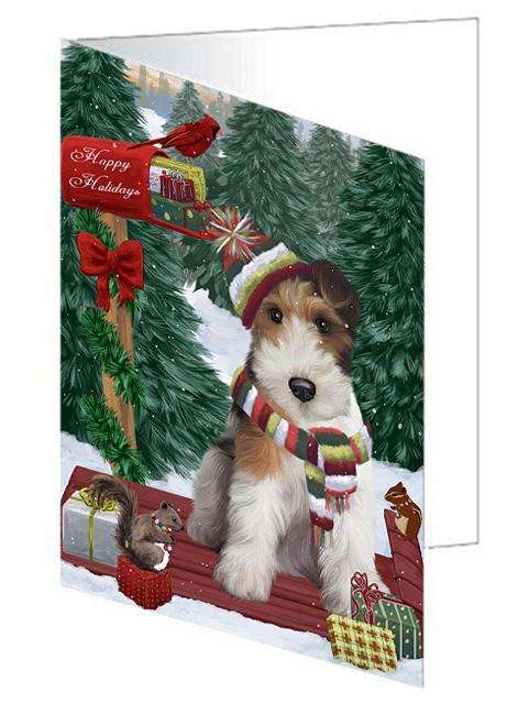 Merry Christmas Woodland Sled Wire Fox Terrier Dog Greeting Card GCD69740