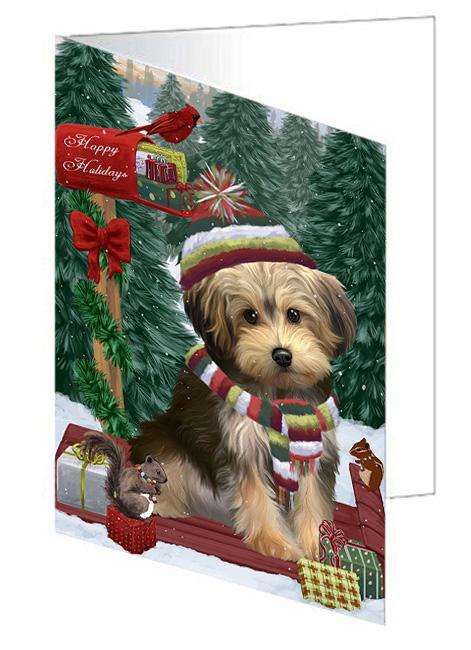Merry Christmas Woodland Sled Yorkipoo Dog Greeting Card GCD69743