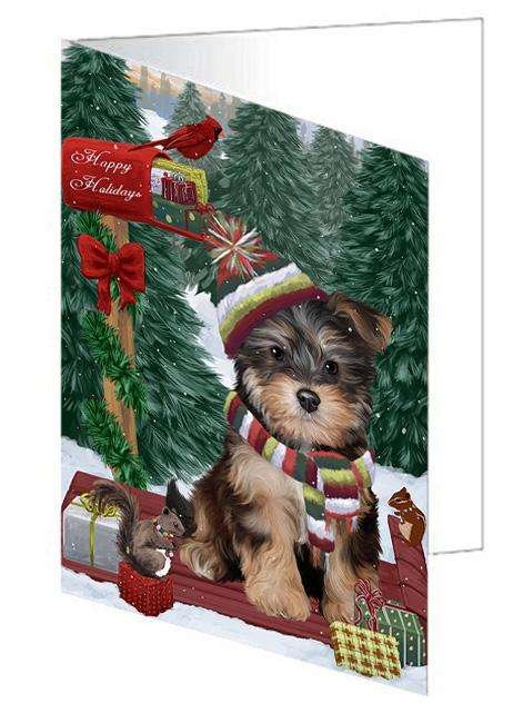 Merry Christmas Woodland Sled Yorkipoo Dog Greeting Card GCD69746