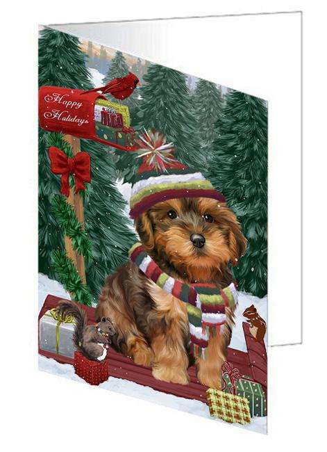 Merry Christmas Woodland Sled Yorkipoo Dog Greeting Card GCD69749