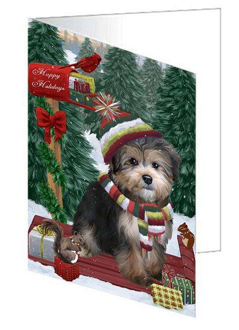 Merry Christmas Woodland Sled Yorkipoo Dog Greeting Card GCD69755