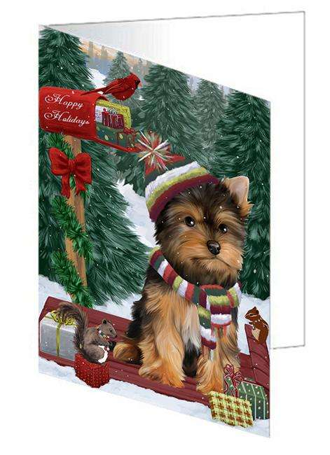 Merry Christmas Woodland Sled Yorkshire Terrier Dog Greeting Card GCD69758