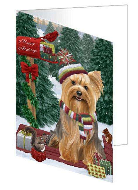 Merry Christmas Woodland Sled Yorkshire Terrier Dog Greeting Card GCD69761