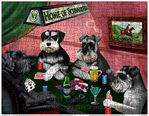 Miniature Schnauzer Dogs Playing Poker 500 Pc. Puzzle with Photo Tin