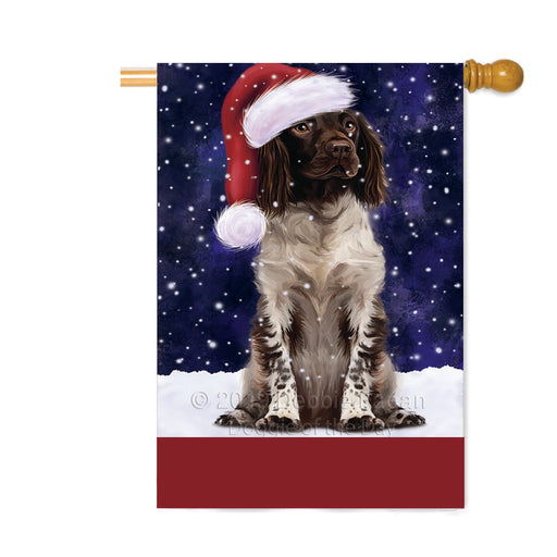 Personalized Let It Snow Happy Holidays Munsterlander Dog Custom House Flag FLG-DOTD-A62428