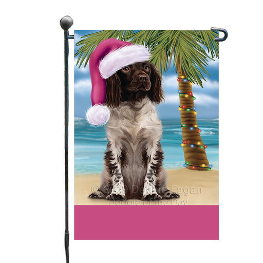 Personalized Summertime Happy Holidays Christmas Munsterlander Dog on Tropical Island Beach  Custom Garden Flags GFLG-DOTD-A60496