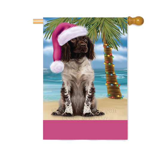 Personalized Summertime Happy Holidays Christmas Munsterlander Dog on Tropical Island Beach Custom House Flag FLG-DOTD-A60552