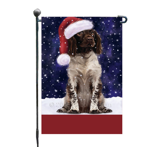 Personalized Let It Snow Happy Holidays Munsterlander Dog Custom Garden Flags GFLG-DOTD-A62372