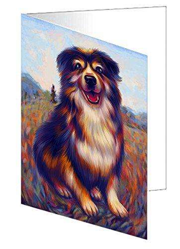Mystic Blaze Australian Shepherd Blue Merle Dog Note Card NCD48563