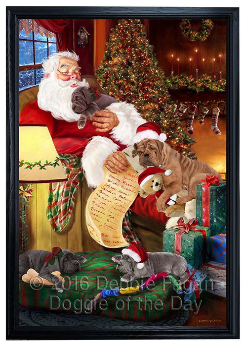 Neapolitan Mastiff Dog and Puppies Sleeping with Santa Framed Canvas Print Wall Art