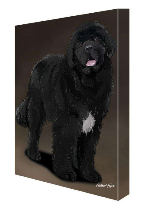 Newfoundland Black Dog Painting Printed on Canvas Wall Art Signed