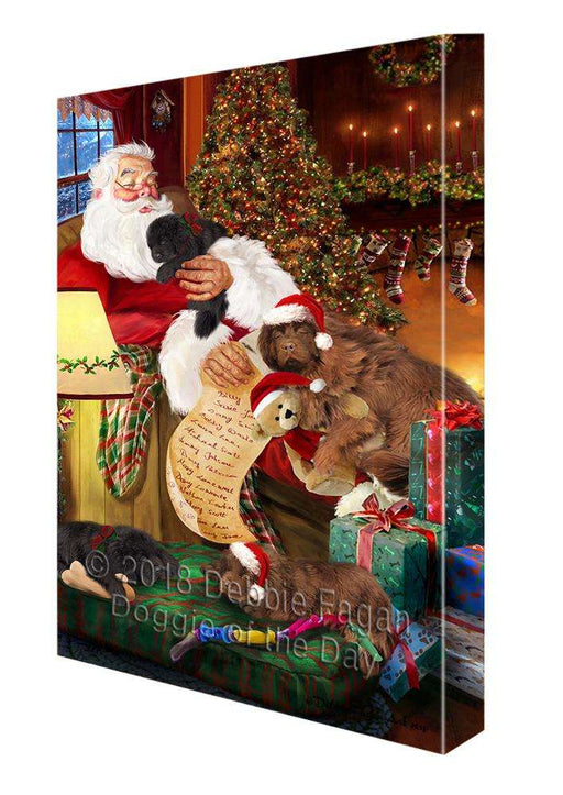 Newfoundland Dogs and Puppies Sleeping with Santa  Canvas Print Wall Art Décor CVS108485