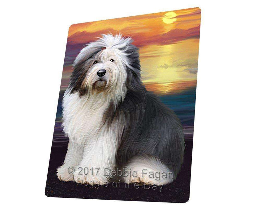 Old English Sheepdog Dog Art Portrait Print Woven Throw Sherpa Plush Fleece Blanket D411